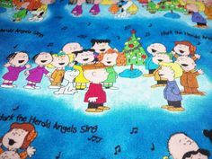Charlie Brown Gang Snoopy Lucy Christmas Fabric Hark by majek150