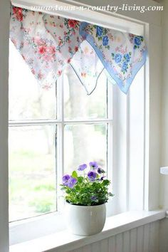 Draping hankies or seasonal fabrics or doilies over top rods at front door would be pretty.