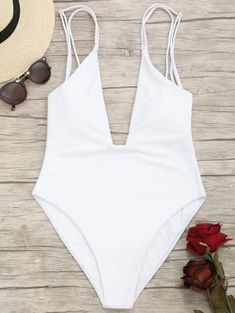 7cd0f502b91 High Cut Plunge Cami Swimwear - White S One Piece Swimwear, One Piece  Swimsuit,