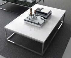 Prairie 47 x 30 Marble Coffee Table in White Marble Top / Chrome Legs by TemaHome