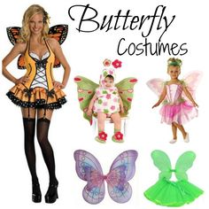 Butterfly Halloween costumes for kids and adults.  #ButterflyCostumes are beautiful and come in a variety of styles.  Get your wings and take flight with these beautiful Butterfly costumes.