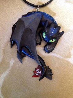 Toothless Necklace  Blue Backed by Gatobob on Etsy, $39.95