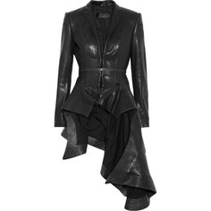 Haider Ackermann Origami leather jacket (€1.880) ❤ liked on Polyvore featuring outerwear, jackets, coats, dresses, black, leather jackets, tailor leather jacket, genuine leather jackets, real leather jackets and shoulder pad jacket