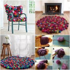 DIY tapis pompons rond