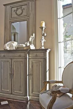 Gray washed - antiqued chest & mirror. Sue Murphy interiors