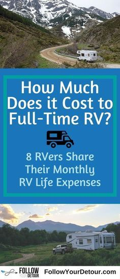 Are you considering RV life? Wondering how much it will cost to travel and live full-time in an RV? This post and guide will help you plan for your life on the road. 8 full-time RVers share their monthly expenses. Check out this site for more RV life hacks, tips, ideas, and routes. #RV #RVlife #fulltimerver #gorving #budget #fulltimerv