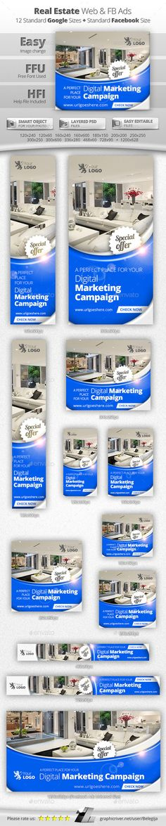 Real Estate Web & Facebook Banners Template #design Download: http://graphicriver.net/item/real-estate-web-facebook-banners/11866121?ref=ksioks
