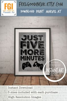 Video Game Controller Print - Just Five More Minutes - PS4 - PS4 Poster - playstation decor - Xbox controller - PS4 Controller - Video Game by FeelGoodIncUK on Etsy