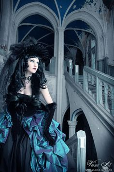 Elaborate #Victorian #Gothic mourning gown in a great Gothic church scene