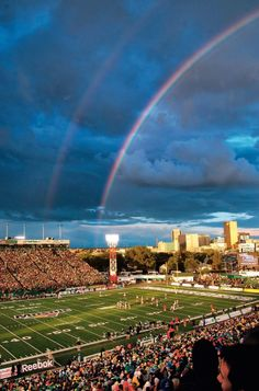 beautiful double rainbow just beyond Taylor Field in Regina Saskatchewan Roughriders, Rainbow Photography, Largest Countries, Green Colors, North America, Sunrise, Ocean, Canada