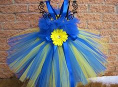 Tutu Dress, BLUE ON LEMON, Bit of Fluff Bodice, Babies 3-24 Months | ElsaSieron - Clothing on ArtFire