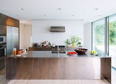 Image 18 of 22 from gallery of Bellport House / Toshihiro Oki architect. Photograph by Dean Kaufman Long Kitchen, Kitchen Dining, Long Island, Floor Plan Drawing, Cladding Materials, Interior Architecture, Interior Design, Cuisines Design, Sliding Glass Door