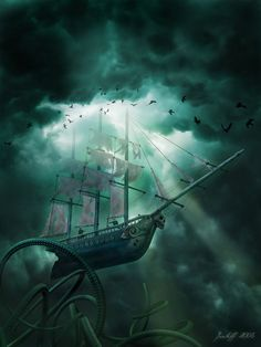 Flying Dutchman vs. Kraken. [Image source,  *jantiff, http://jantiff.deviantart.com/].
