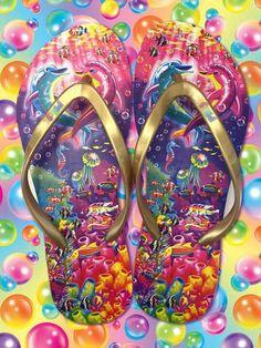 Lisa Frank Flip Flops designed by Heather Lee Allen. View more work at https://www.behance.net/HeatherLeeAllen