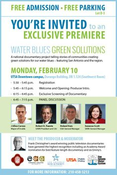 We're excited about another FREE screening we'll be having in San Antonio, TX with the Edwards Aquifer Authority, San Antonio River Authority, San Antonio Water System and more! It will be held on Feb. 10 at 5:30PM CST at the UTSA - The University of Texas at San Antonio Downtown campus. Writer/director Frank Christopher will be part of a panel discussion following the screening.