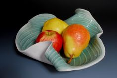 Pottery Bowl Fruit Green Decorative Hosta Leaf by WhiteEarthStudio, $120.00 A gift from my daughter, I put fruits in my!
