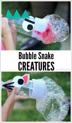 Diy Bubble Snake Creatures at Twodaloo - make using a cut plastic bottle, old sock and bubble solution