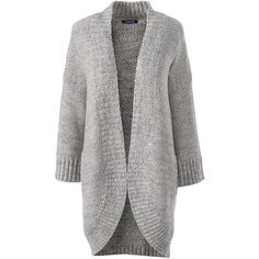Lands' End Women's Petite Lofty 3/4 Sleeve Open Cardigan Sweater ($69) ❤ liked on Polyvore featuring tops, cardigans, grey, gray cardigan, slouchy cardigan, holiday cardigan, grey cardigan and holiday tops