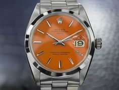 Swoon - Mens Vintage Rolex Oyster Perpetual Date 1500, Orange Dial, C.1950S (5064)
