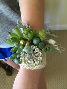 succulents and vintage broach corsage