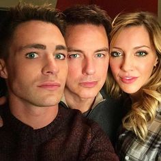 Last day on set before the holiday with johnscotbarrowman & the bday girl katiecassidy #Arrow #SameEyes #Family - Colton