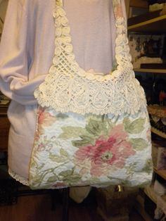 Shabby Chic Peach Blossom Tote Handbag Purse