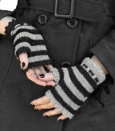 Witchy striped fingerless mittens in two lengths with picot edge fold-over eyelet cuffs and optional crochet chain ribbon detail. Pattern: $5.00 US YARN Shown in Cascade Yarns 220 [100% wool, 220 y…