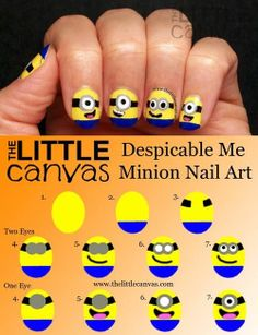 Nail Design Inspired by Despicable Me Minions Minion Nail Art Tutorial Love Nails, How To Do Nails, Pretty Nails, Minion Nail Art, Minion Makeup, Do It Yourself Fashion, Nails For Kids, Cute Nail Art, Cute Nail Designs