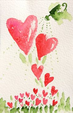 Watercolor hearts plant