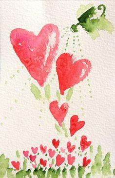 Watercolor hearts plant