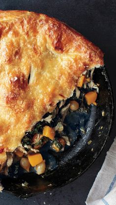 Butternut squash pot pie: bake this fall meal in a cast-iron, and serve it in the same pan.