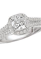 Semi-Mount Cushion Style Halo Diamond Ring in 14kt White Gold with a V Shank . (D.1/3 carat total weight, does NOT include center stone as shown)  http://www.houstondiamondandgem.com/  Engagement ring // Wedding Ring // Diamond Ring