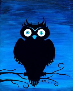 Halloween art Blue Owl by onelizziemonster