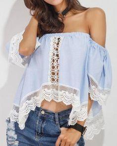 6a7eefaf0c654 Lace splicing t shirt asymmetrical off the shoulder crop top for teenage  girls Crochet 2017