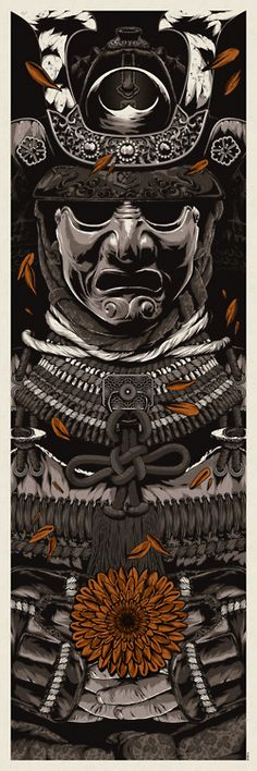 """""""Like an old tree  From which we gather no blossoms  Sad has been my life  Fated to bear no fruit""""  - Minamoto Yorimasa  Part I of A Warrior's Dreams Series [2013]  12"""" x 36"""" five-color screen-print  Madero Beach French Paper  Printed by Seizure Palace in Portland, OR"""