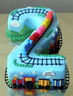 Train cake w/ tracks and fondant train Number 2 Cakes, Number Birthday Cakes, 2 Birthday Cake, Trains Birthday Party, 2nd Birthday Parties, Baby Birthday, Train Party, Birthday Ideas, Cakes For Boys