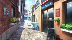 Coffee street - Visual Novel background by Vui-Huynh on DeviantArt Scenery Background, Street Background, Video Background, Animation Background, Night Background, Background Images, Anime Backgrounds Wallpapers, Anime Scenery Wallpaper, Episode Interactive Backgrounds