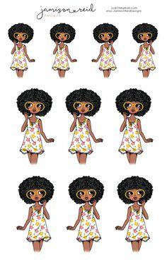 African American Summer Girl planner stickers Happy Planner