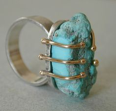 Turquoise sterling 14kt gold ring by betsy.bensen, via Flickr