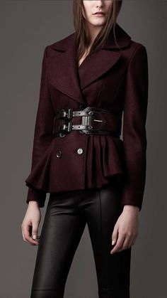 Burberry - PLEATED PEPLUM JACKET.