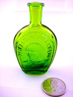 Miniature Green Bottle, Wheaton Glass, Benjamin Franklin, 1970s, Glass Collectible