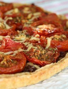 slow roasted tomato, caramelised onion and gruyere tart