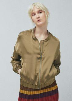 Satin bomber jacket - Jackets for Women | MANGO USA