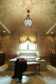 Ceiling and walls by NCF Studio. Metallic plaster finishes on both. Plaster, Wall Murals, Art Decor, Decorative Walls, It Is Finished, Ceiling, Studio, Sweet Dreams, Bedroom Ideas