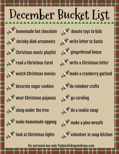 Make December an even more magical time with this free printable December Bucket List for families!