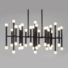 Jonathan Adler Meurice Rectangular Chandelier in Deep Patina Bronze