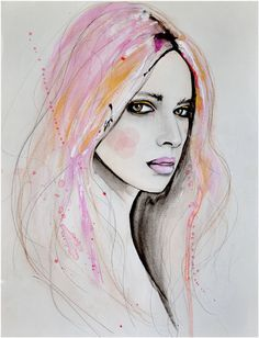 Marianne 2 - Fashion Illustration Art Print, Portrait, Woman, Mix Media Painting by Leigh Viner Art And Illustration, Art Amour, Pop Art, L'art Du Portrait, Portraits, Art Visage, Inspiration Art, Art Design, Face Art