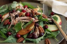 Thanksgiving Leftovers Kale Salad with homemade cranberry vinaigrette - a great post-holiday detox! Healthy Dishes, Healthy Salad Recipes, Vegetarian Recipes, Healthy Eating, Healthy Snacks, Kale Salad, Soup And Salad, Crab Salad, Shrimp Salad