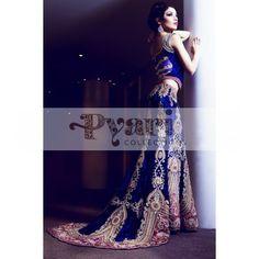 Blue Velvet Bridal Lengha