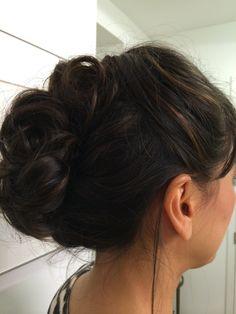 Soft updo - shoulder length hair